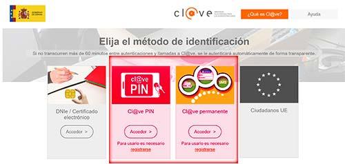 Identificación con cl@ve